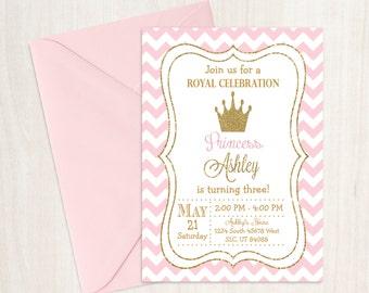 Princess Birthday Invitation, Princess Invitation, Pink and Gold Birthday, Princess Birthday, Girl Birthday, Princess Party