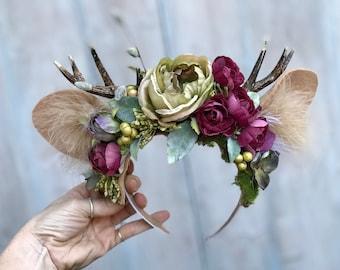 Antler Flower Crown, Deer Flower Crown, Deer headband, Antler Headband, Deer Headpiece, Deer ears, Fawn headpiece, Fawn, Ears, Antlers.