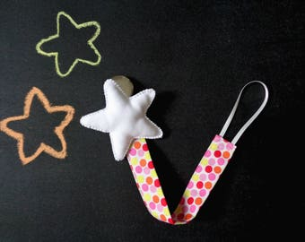 Pacifier clip, star baby shower, white stuffed star, polka dot cotton, yellow orange dummy clip, gifts for baby boy girl, newborn astronaut
