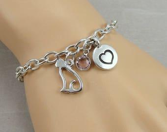 Cat Charm Bracelet, Kitty Cat Bracelet, Initial and Birthstone Bracelet, Silver Plated Link Charm Bracelet