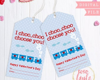 Valentine's Day Tags - printable valentine's gift tag - personalized printed tags Valentine's Favor Hang Tag - Choo Choo Choose You