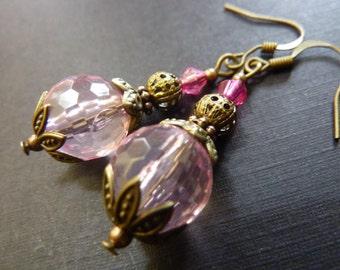 Pale pink Earrings Vintage Dangle crystal Drop Earrings