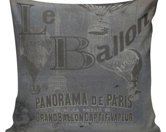 Pillow French Paris Balloon Grey Blue Burlap Cotton Linen Throw Pillow Cover FR-23