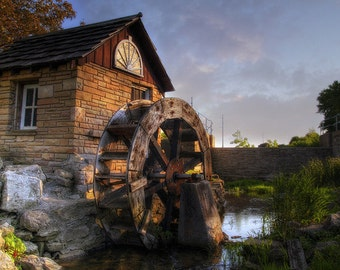 Mill Print, Mill Art, Mill Photography, Kaukauna, Fox Cities, Wisconsin, Home Decor, The Water Wheel