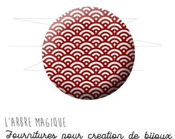 Cabochon fancy 25 mm Japan 1580 ref red geometric pattern