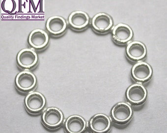 4 pcs/pk Sterling Silver 95 Link Round shape 15 rings 22mm, available in Shiny Silver