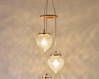 Falling Acorns Chandelier Hanging Pendant Lighting Fixture, Cascading Raspberry Shaped Glass Shades, Modern BootsNGus Lamps And Home Decor