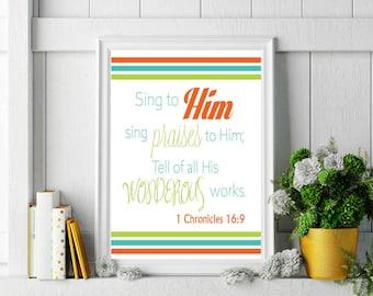 1 Chronicles 16:9 Bible Verse Print