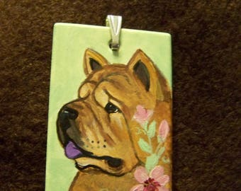 Hand painted smooth chow pendant