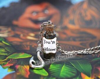 Moana Maui Necklace You're Welcome a Fish Hook Charm, Disney Bound, Maui, Demigod, Moana Cosplay, Maui Cosplay, Moana Jewelry, Maui Jewelry