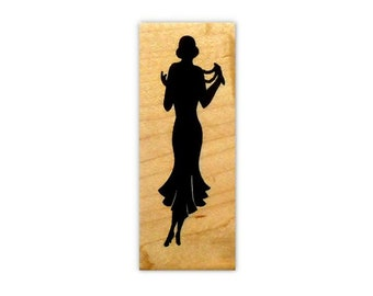 LADY SILHOUETTE mounted rubber stamp, large, art deco style, woman, fashion, person, Sweet Grass Stamps No.2
