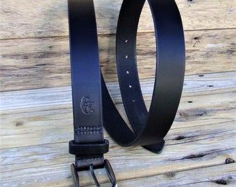 Black belt leather, stitched saddle stitch, to measure 3.3 cm wide, handmade model Dijon