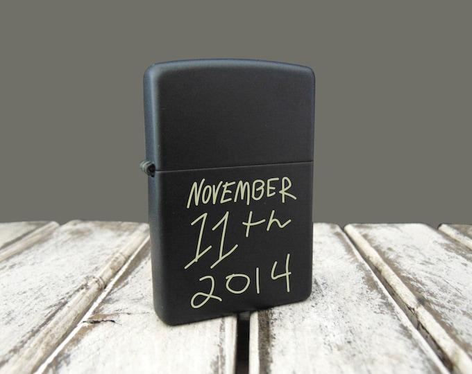 Handwritten Black Zippo Personalized - ACTUAL HANDWRITING - Anniversary Gift - Military - Perfect Groomsmen Gift - Sentimental Zippo