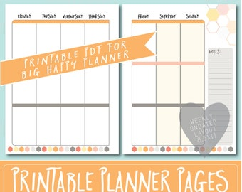 HAPPY PLANNER Printable Weekly Planner Refills / BIG Inserts - 8.5 X 11 | Dreamsicle | Create 365 | Me & My Big Ideas | mambi | Undated