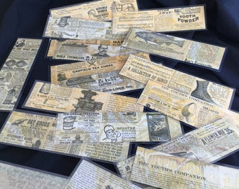 Old Advertising Antique Magazine Bookmark Set of 6 - Hand-marbled Bookmarks Reader's Gift Historical Museum