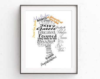 Personalized Graduation Gift, Class of 2017, Graduation Art, High School Graduation Gift, Graduation Gift for Her, Graduation Present