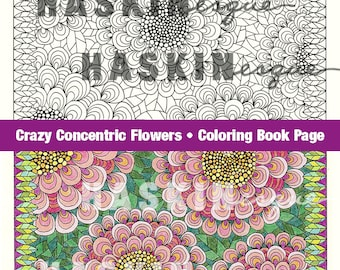 Adult coloring page, digital download printable, hand drawn crazy concentric flowers