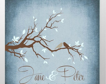 Engagement gift, gifts for couple Anniversary gift, tree print, gift for couple, custom wedding gift, birds, Personalized Gift