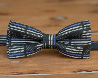 Mens police support bow tie - black blue American flag cotton bowtie - law enforcement, policeman - Thin Blue Line, Free US Shipping