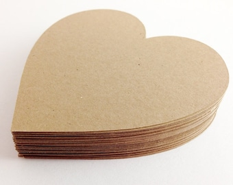 50 Kraft Die Cut Hearts - Rustic Wedding - 3 inch Hearts - Kraft Hearts - Large Kraft Hearts - Paper Hearts - Wedding Wishing Tree -