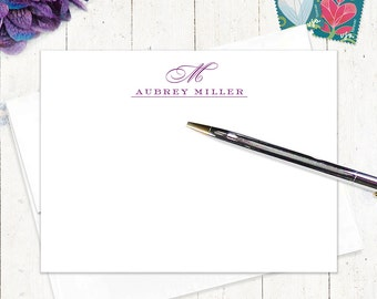 personalized notecard set - CLASSIC MONOGRAM - set of 12 flat note cards - stationery - stationary - typography - monogrammed