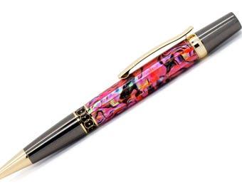 Elegant Monarch Ballpoint Pen   Blaze Orange Paua Abalone   Gunmetal and Gold