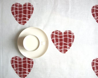 Tablecloth white burgundy red hearts Wedding table cloth Romantic table linen, also curtains available, great GIFT