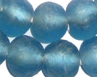 40 Recycled Glass Beads - 18mm African Glass Beads - Light Blue African Beads - Recycled Beads - Made in Ghana ** (RCY-RND-BLU-632)