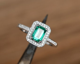 lab emerald ring silver ring emerald gemstone ring promise ring engagement ring may birthstone ring