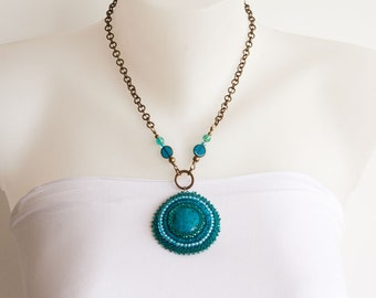 Bronze Chain Necklace with Turquoise Teal Light Blue Green Bead Embroidered Pendant and Beaded Brass Wire Connectors. Round Pendant   S-311