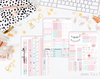 Rainy Day HORIZONTAL Weekly Kit // 130+ Matte Planner Stickers // Perfect for your Erin Condren Life Planner // WKH1040
