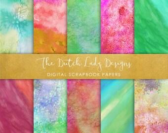 Digital Scrapbook Paper - Splatter Paint Textures - Colorful Watercolor Patterns - 10 Papers in .JPEG File - INSTANT DOWNLOAD