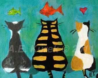 Whimsical Art - Cat Wall Art - Cat Dreams - 5 x 7 Print in 8x10 mat - Cat Print - Cat Lover Gift
