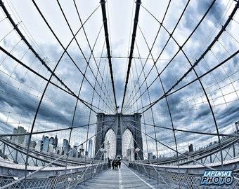 "Brooklyn Bridge Photograph, New York City Photo, Color Photography, Wall Art, Art Print, NYC, ""Into The Web"""