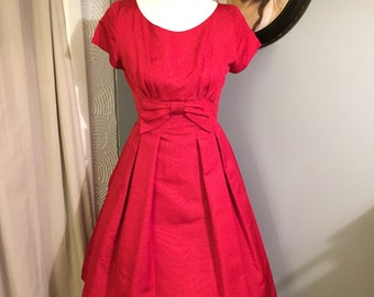 SALE!! Stunning Red R & K Originals Silk Party Dress with Bow Detail