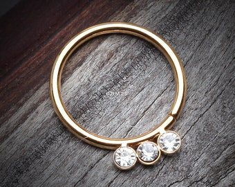 Golden Triple Gem Sparkle Bendable Twist Hoop Ring