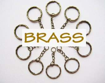 10 pcs of 5.3 cm 53 mm 2.125 inch long anitque brass bronze key chains keychain split rings keyring loop for any craft diy creative projects