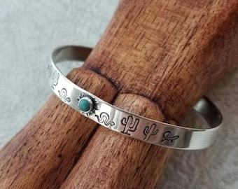 Southwest Saguaro Cactus Sterling Silver Cuff Bracelet - Turquoise Gemstone - Stamped Jewelry - Southwest Inspired