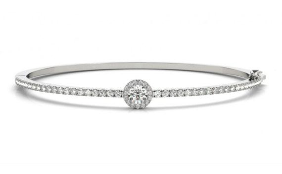 1.75 ct Diamond Halo Bangle Bracelet 14K White Yellow Rose Gold Wedding Gift