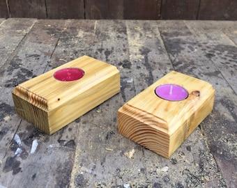 Pallet wood tealight holder