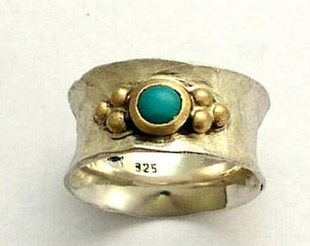 Sterling silver turquoise ring, two tones ring, Turquoise band, gemstone ring, silver gold ring, wide silver ring - always yours R1019B