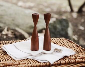 Pair of Silmema Wooden Candlesticks