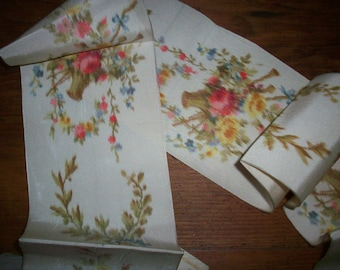 Finished sash of  Antique watered silk ikat french ribbon with roses in baskets bridal sash