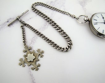 Victorian Sterling Silver Albert Pocket Watch Chain With Drop & Fob C1900. Antique English Belcher Watch Chain - Crusader Cross Pendant Fob.