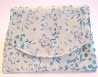 Blue Flowers on Blue Batik Wallet