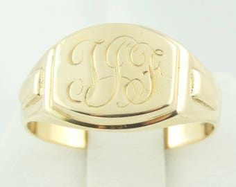 Vintage Hand Engraved 'TJF' 10K Yellow Gold Signet FREE Shipping! #TJF1-SR
