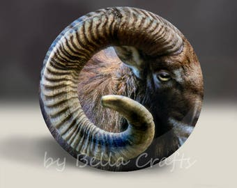 Capricorn Goat - Magnet or Pin, or Pocket Mirror, 2.25 Inch Size Pinback Buttons, Fundraiser, Home Decor, Party Favors, Bookbag Flair