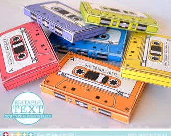 Cassette Tape Box - Retro Cassette, Party Favor Boxes, Gift Card Holder, 7 Editable Text Boxes | INSTANT Download DIY Printable PDF Kit