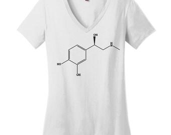 Science V Neck Tee Womens Shirt Nerdy Shirt Science Teacher Gift Chemical Structure Shirt Chemistry Gear Adrenaline Epinephrine Shirt