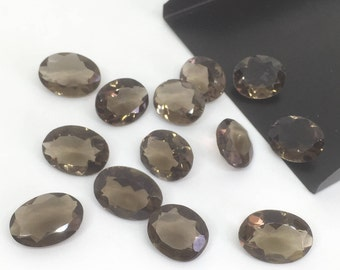 6 pcs 14x10 mm Oval Faceted Smoky Quartz,Faceted Smoky Quartz Gemstone,Smoky Gemstone